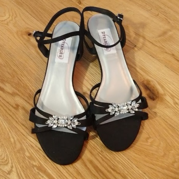 052c824474 Dyeables Shoes | Black Strappy Kitten Heel Sandal | Poshmark